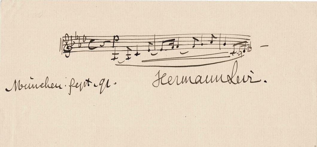 Opening notes of 'Parsifal' with Hermann Levi's signature dated 1891