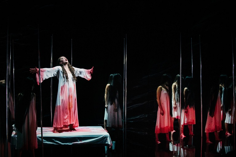 Evelyn Herlitzius as Kundry in the recent NY Met production of 'Parsifal'. End of Act II.