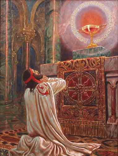 The prophecy is revealed to Amfortas as he prays before the Grail. Painting by Franz Stassen.