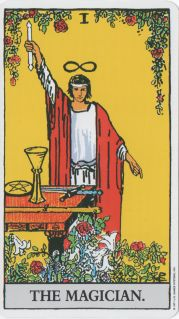 Card from the Rider-Waite tarot: Magician with Hallows