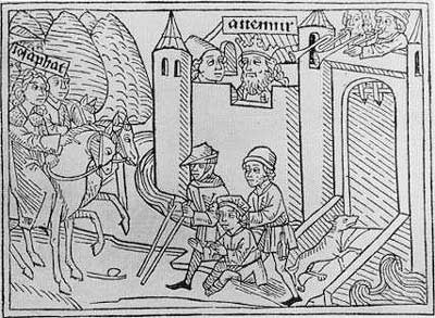 Josaphat sees a cripple while returning to the palace. Augsburg edition of 1477.