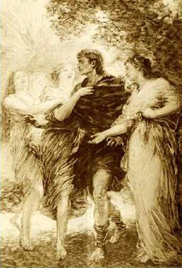 Image: Parsifal and the Flowermaidens, drawing by Henri Fantin-Latour, 1893