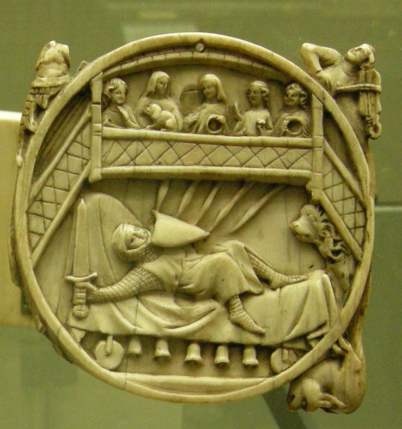 Gawain on the Perilous Bed, on an ivory mirror-case, Paris, 14th century. Attribution: I, Sailko.