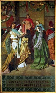 Image: Wedding of Gawain and Orgeluse, painting at Neuschwanstein