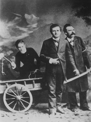 Photograph: Cave Canem. Nietzsche in front of the dog cart.