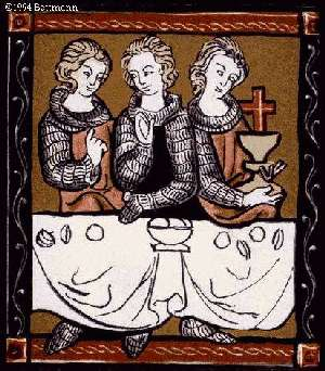 Image: Sir Percival and two other knights with the Holy Grail