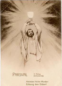 Image: Bayreuth postcard showing Parsifal as new Grail King, elevating the radiant Grail.