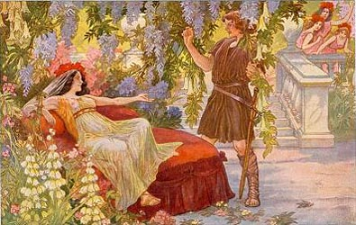 Image: Bayreuth postcard showing Kundry attempting to seduce Parsifal.
