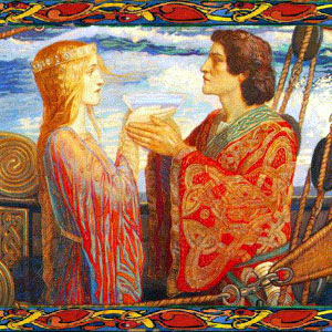 Isolde offers Tristan the drink of love and death. Painting by John Duncan