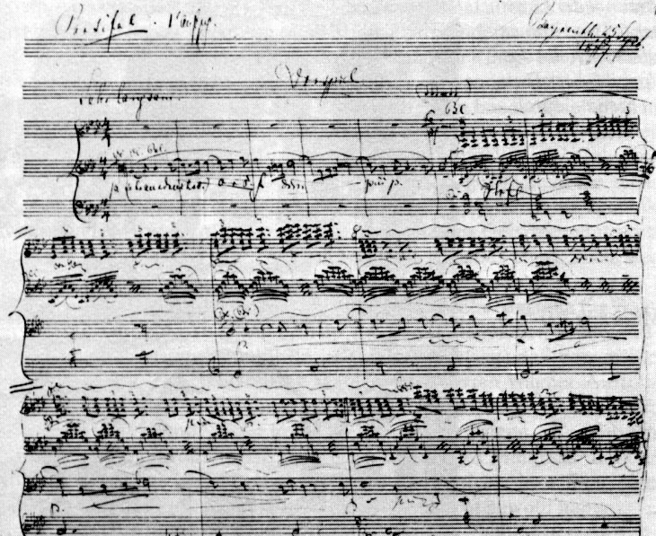 Image: composition sketch (1877) of the prelude to the first act of 'Parsifal'