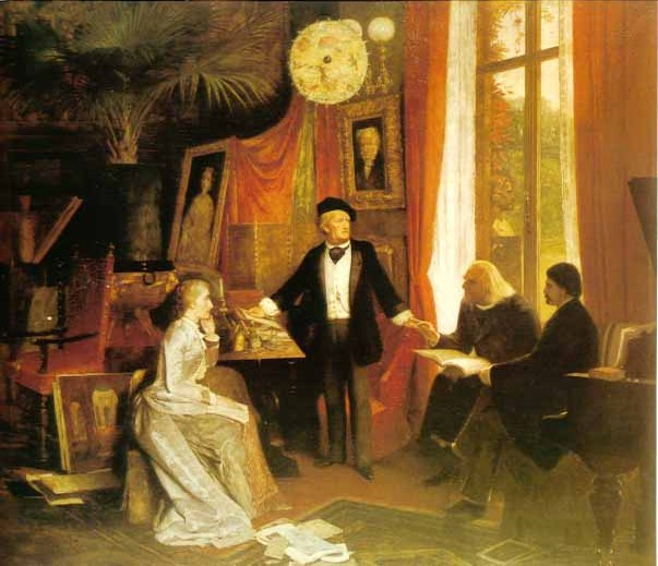 Cosima and Richard Wagner with Liszt and von Wolzogen